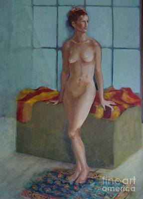 Nude In North Light Copyrighted Art Print by Kathleen Hoekstra