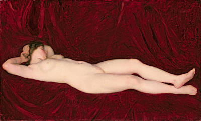 Painting - Nude In Red Background by Karoly Ferenczy