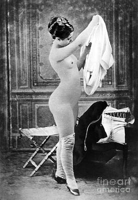 Photograph - Nude In Stockings, C1880 by Granger