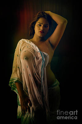 Photograph - Nude In Wet Saree by Kiran Joshi