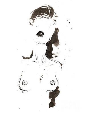 Painting - Nude Ink Drawing 2018 06 12 by Angel Ciesniarska