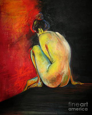 Drawing - Nude- Introspection by Yxia Olivares