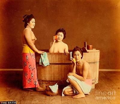 Photograph - Nude Japanese Victorian Women In The Bath Circa 1880 by Peter Gumaer Ogden Collection