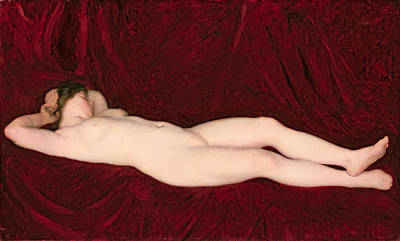 Red Drape Painting - Nude by Karoly Ferenczy