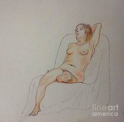 Drawing - Nude Life Drawing by Robert Monk