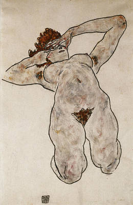 Ethnicity Painting - Nude Lying Down by Egon Schiele