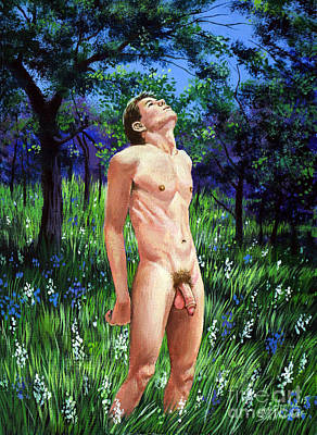 Painting - Nude Male Admiring The Lily Valley by Christopher Shellhammer