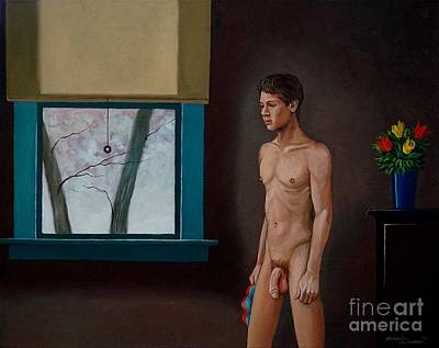Painting - Nude Male Bather Waiting For Winter To End by Christopher Shellhammer
