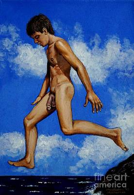 Painting - Nude Male Dipper Taking A Jump by Christopher Shellhammer