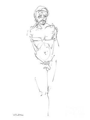 Nude Male Drawings 9 Art Print