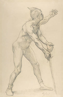 Drawing - Nude Male Figure With A Sword by Alexandre Cabanel