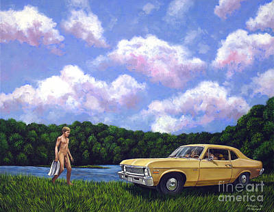 Painting - Nude Male In Summer Of 69 Chevy Nova Dippers Meet Up by Christopher Shellhammer