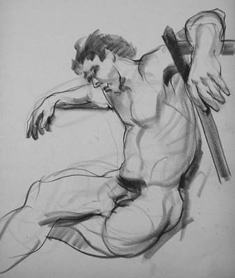 Drawing - Nude Male Model With Arms Outspread And Hanging by Robert Holden