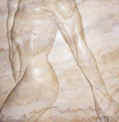 Male Nude Relief Sculpture - Nude Male Strolling by Tina Hariu