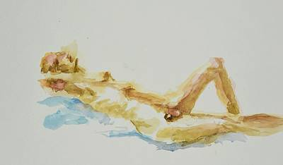 Painting - Nude man at rest by Rachel Rose