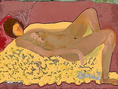 Nude Model In Relax Art Print by Carlos Camus