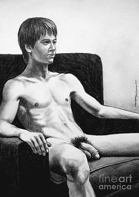 Drawing - Nude Model On Sofa Chair by Christopher Shellhammer