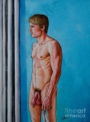 Painting - Nude Muscular Model In A Room by Christopher Shellhammer