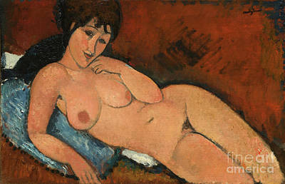 Jewish Painter Painting - Nude On A Blue Cushion by Art Anthology