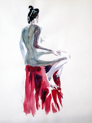 Painting - Nude On A Draped Stool by Mark Lunde
