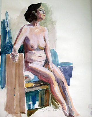 Painting - Nude On A Drawing Bench by Mark Lunde
