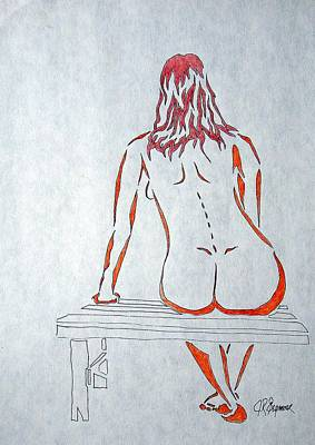 Nude On Bench Art Print