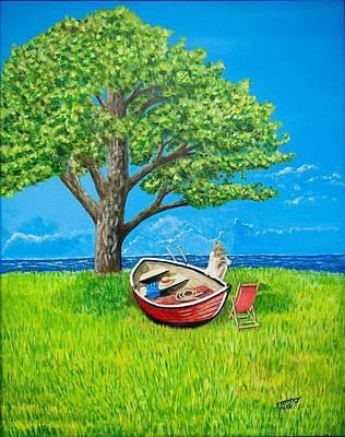 Nude On Boat Original by Edward Stotsky