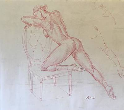 Nude On Chair Art Print by Alejandro Lopez-Tasso