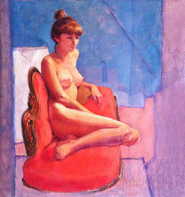 Painting - Nude On Chaise Longue by Roz McQuillan