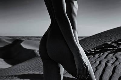 Nude On Desert Sandy Dunes Art Print