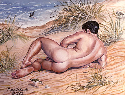 Painting - Nude On Dunes by Marc  DeBauch