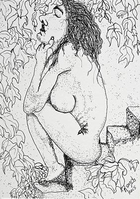 Drawing - Nude On Steps by Rand Swift
