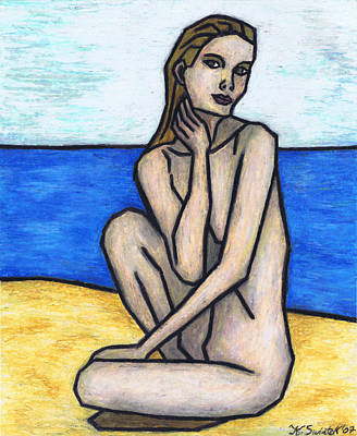 Nude On The Beach Art Print by Kamil Swiatek