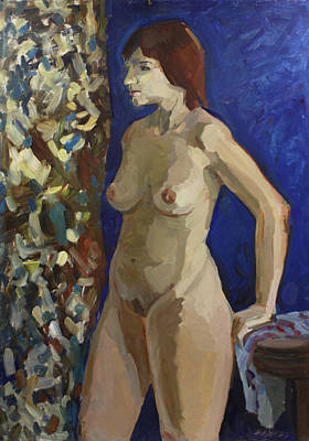 Painting - Nude On The Blue by Juliya Zhukova