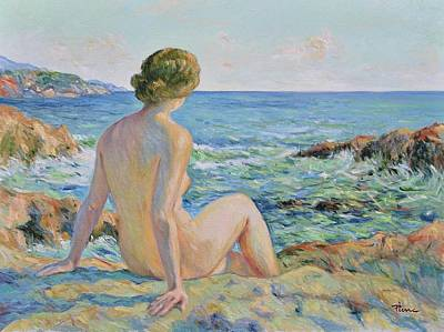 Painting - Nude On The Coast Monaco by Pierre Van Dijk