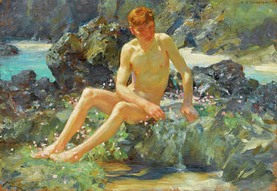 Painting - Nude On The Rocks by Henri Scott Tuke