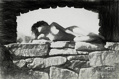 Drawing - Nude On The Rocks In Arch by Robert Gaines
