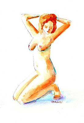 Painting - Nude Pin Up Model Kneeling Left by Carlin Blahnik