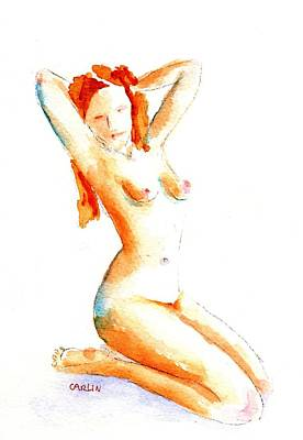 Painting - Nude Pin Up Model Kneeling Right by Carlin Blahnik