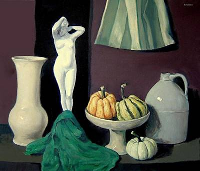 Painting - Nude Plaster Figurine With Winter Squash by Robert Holden