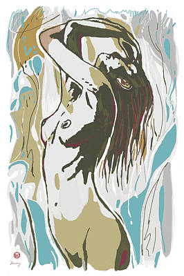 Charcoal Mixed Media - Nude Pop Art Stylised Poster by Kim Wang