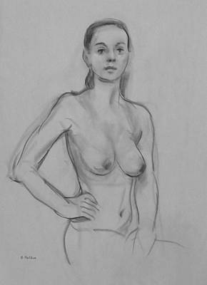 Drawing - Nude Portraiit Sketch,torso,arm On Hip by Robert Holden