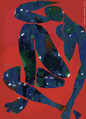 Charcoal Mixed Media - Nude - Red Blue Green Pop Art Poster  by Kim Wang