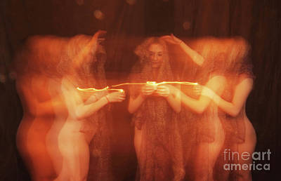 Nude Ritual With Candles - 3020cr Art Print by Cee Cee - Nude Fine Arts