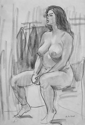 Drawing - Nude Seated In Front Of Coat Rack by Robert Holden