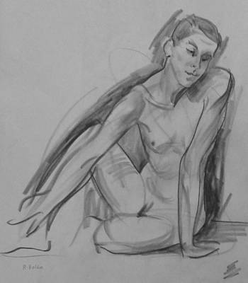 Drawing - Nude Seated On Floor,twisting by Robert Holden