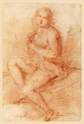 Drawing - Nude Seated Woman Playing A Lute by Giovanni Baglione