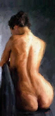 Painting - Nude Sitting On Chair by James Shepherd