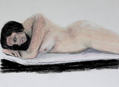 Drawing - Nude Sleeper by Cathy Jourdan