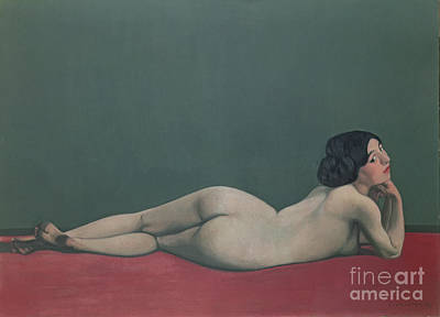 Chin Painting - Nude Stretched Out On A Piece Of Cloth by Felix Edouard Vallotton